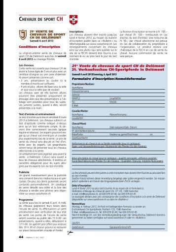 CHEVAUX DE SPORT CH - Zuchtverband CH Sportpferde