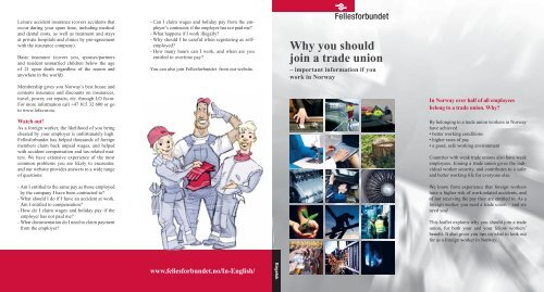 Why you should join a trade union - Fellesforbundet