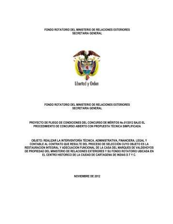 Proyecto pliego de condiciones - concurso de méritos - Ministerio de ...