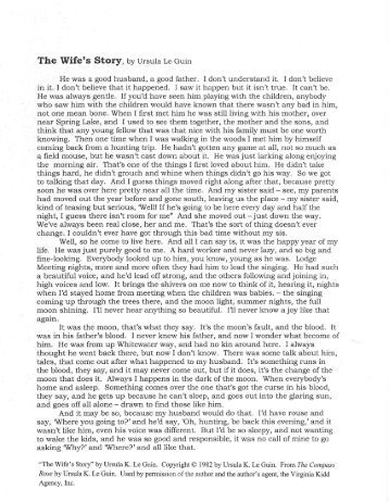 the wifes story ursula le guin The wife's story - ursula le guin study guide by rebecca_dimino includes 7 questions covering vocabulary, terms and more quizlet flashcards, activities and games help you improve your grades.