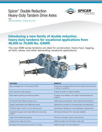 Spicer® Double Reduction Heavy-Duty Tandem Drive Axles