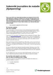 Indemnité journalière de maladie [Sjukpenning] - Försäkringskassan