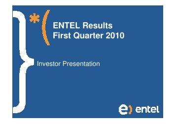 ENTEL Results First Quarter 2010