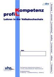 Kompetenzprofil — Lehren in der Volkshochschule