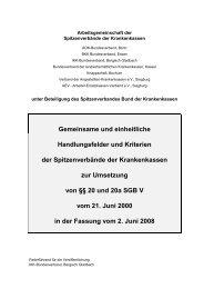 Gemeinsame und einheitliche Handlungsfelder und Kriterien ... - DAK