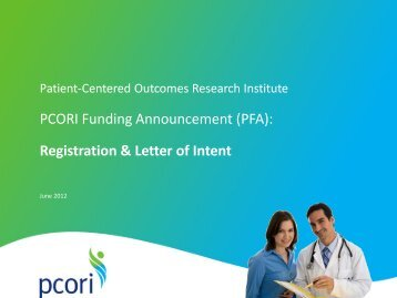 PFA - Patient Centered Outcomes Research Institute