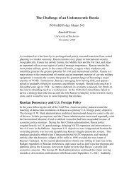 The Challenge of an Undemocratic Russia - PONARS Eurasia