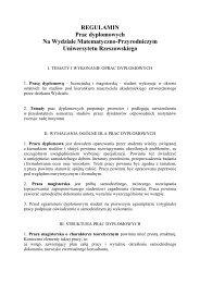 Regulamin pisania pracy dyplomowej - Uniwersytet Rzeszowski
