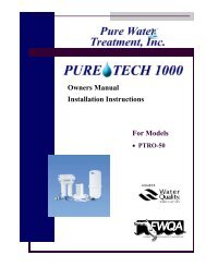 For Models Owners Manual Installation Instructions - Clean My Water
