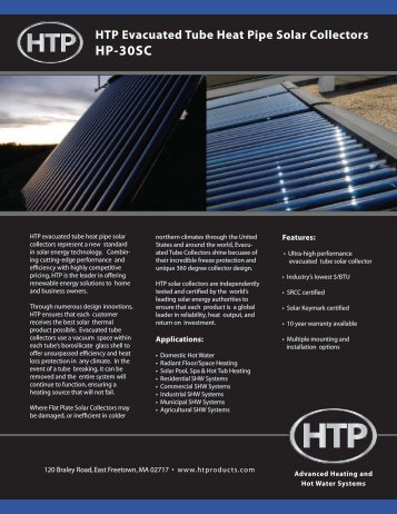 HTP Evacuated Tube Heat Pipe Solar Collectors HP-30SC