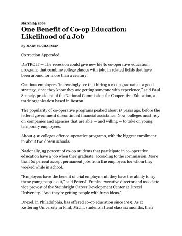 One Benefit of Co-op Education - Cooperative Education and ...