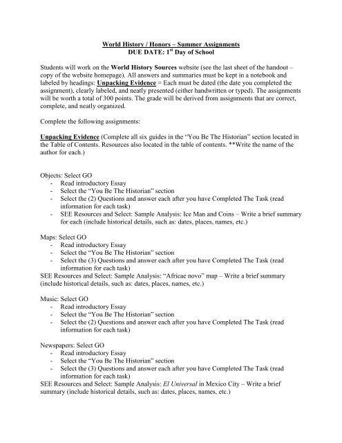World History / Honors - Osceola Fundamental High School