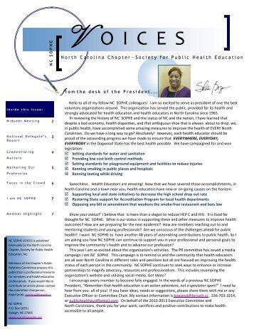 Winter 2013 Newsletter - sophe - Society for Public Health Education