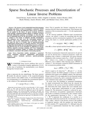 Sparse Stochastic Processes and Discretization of ... - IEEE Xplore