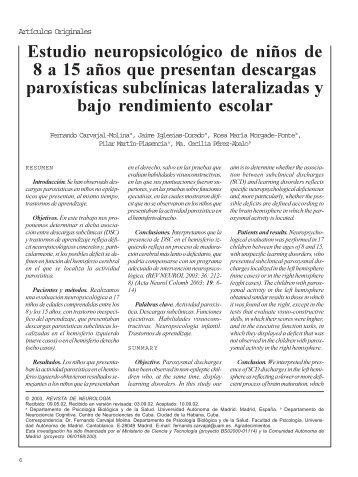 Estudio neuropsicológico de niños de 8 a 15 años que presentan ...