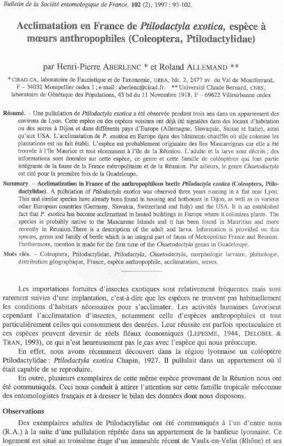 Acclimatation en France de Ptilodactyla exotica, espèce à moeurs ...