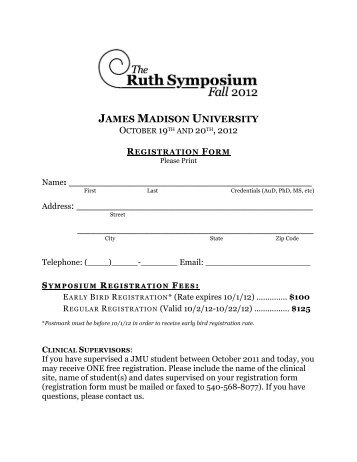 registration form - Communication Sciences and Disorders - James ...