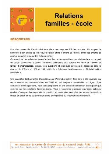 Relations familles - école - Collectif Alpha