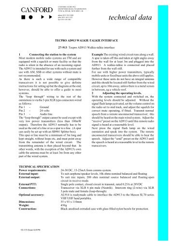 Tecpro AD913 Walkie-Talkie Interface Data Sheet ... - Canford Audio