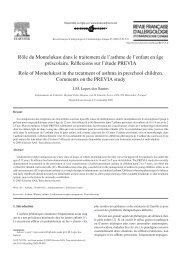 Rôle du Montelukast dans le traitement de l'asthme - Société ...