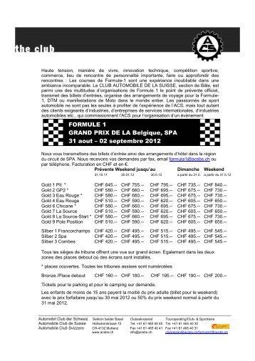 FORMULE 1 GRAND PRIX DE LA Belgique, SPA 31 aout – 02 ...