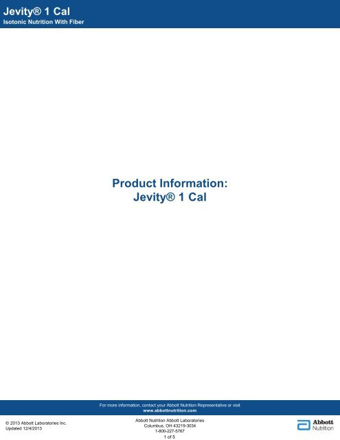 Jevity 1 Cal - Abbott Nutrition