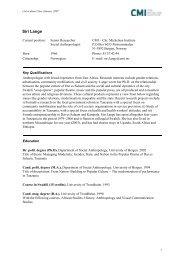 CMI Academic CV