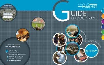 Téléchargez le Guide du Doctorant 2010-2011 - Université Paris-Est