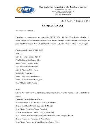 leia o comunicado em pdf - sbmet