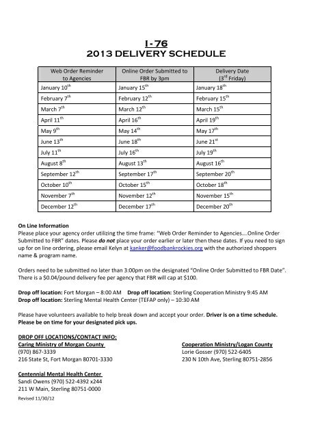 I - 76 2013 DELIVERY SCHEDULE - Food Bank of the Rockies