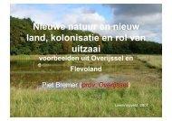 Nieuwe natuur en nieuw land, kolonisatie en rol van uitzaai