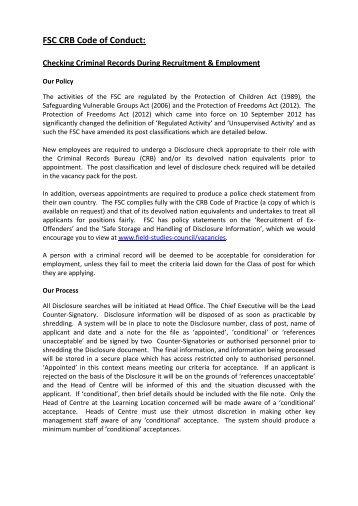 CRIMINAL RECORDS BUREAU - Field Studies Council