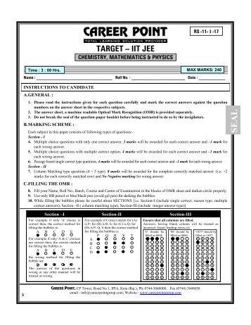 TARGET – IIT JEE - Career Point