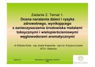 Zadanie 2. Temat 1. Ocena narażenia dzieci i ryzyka zdrowotnego ...