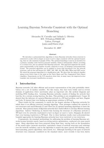 Learning Bayesian Networks Consistent with the Optimal Branching