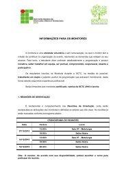 INFORMAÇÕES PARA OS MONITORES - IFBA