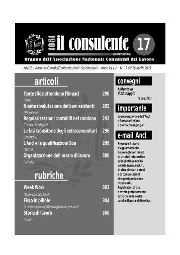 N. 17 del 26 aprile 2003 294 il consulente 1081 - Ancl