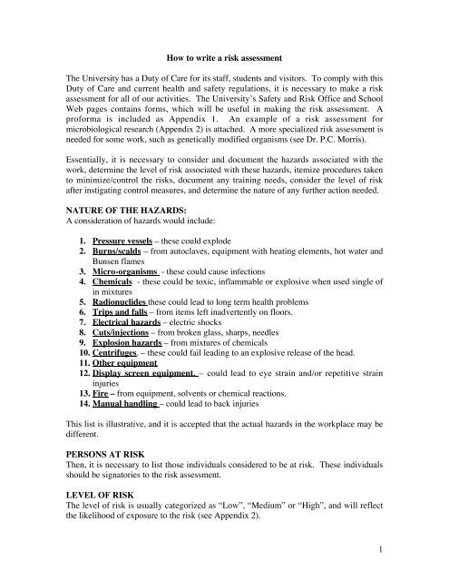 1 How to write a risk assessment The University has a Duty of Care ...