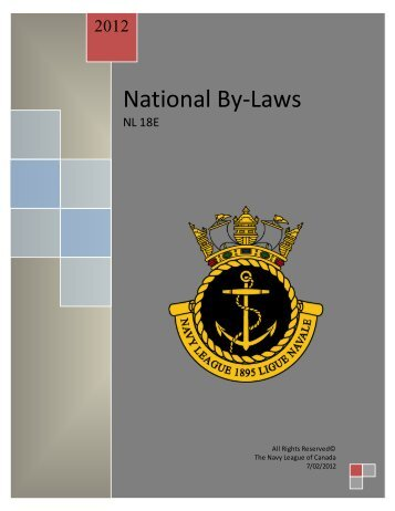 National By-Laws - The Navy League of Canada