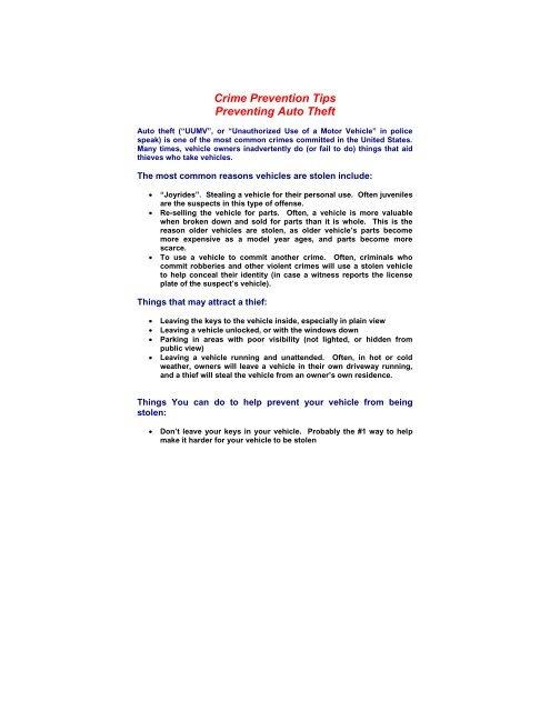 Auto Theft Prevention >> Auto Theft Prevention Tips Dallas Police Department