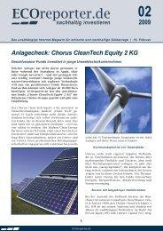Anlagecheck: Chorus CleanTech Equity 2 KG - ECOreporter.de