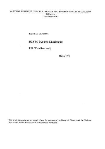 RIVM Model Catalogue