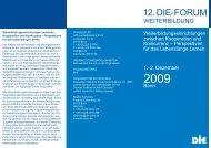 Flyer zum DIE-Forum Weiterbildung 2009