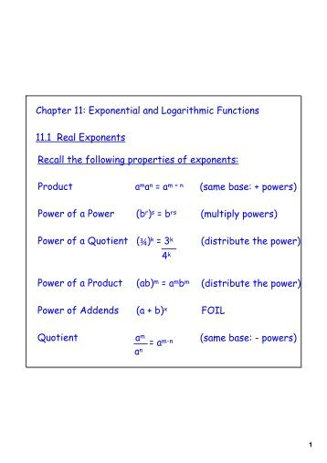 Chapter 11: Exponential and Logarithmic Functions 11.1 Real ...