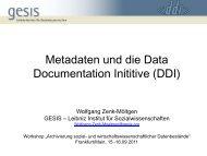 Metadaten und die Data Documentation Initiative (DDI) - RatSWD