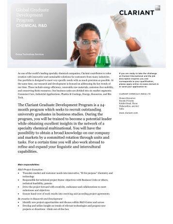 Global Graduate Development Programme - Clariant