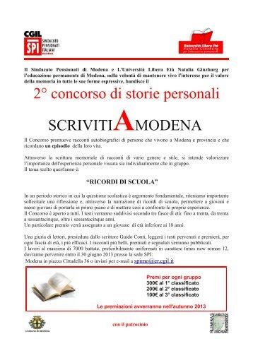 2° concorso di storie personali SCRIVITIAMODENA - CGIL Modena