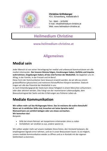 Allgemeine Infos & Einzelangebote als PDF - Heilmedium Christine ...