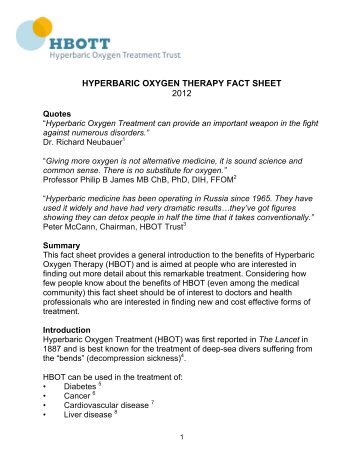 HYPERBARIC OXYGEN THERAPY FACT SHEET - Castle Craig