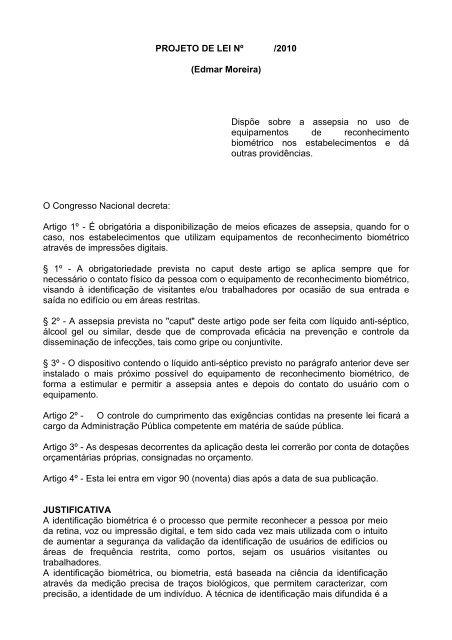 PROJETO DE LEI Nº /2010 (Edmar Moreira) Dispõe sobre a ...